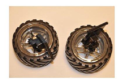 Carrera 980115 2 wheels with Steering stub Axle (Agent Black